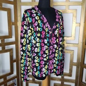 Escada Floral Pink Cardigan Sweater Gold Button XL